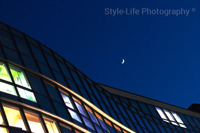 Moonlit Urban Architecture, Hamburg, Germany