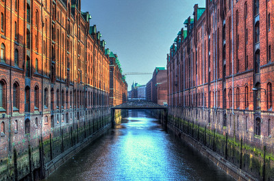 """Sunset view overlooking the historic mill buildings - Speicherstadt in Hamburg, Germany"""