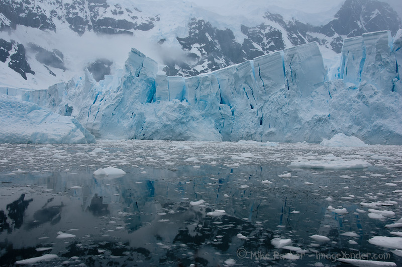 The toppling towers of the glacier in Paradise Bay, Antarctica