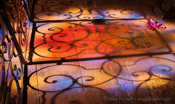 Stained Glass reflections  in Loubressac church