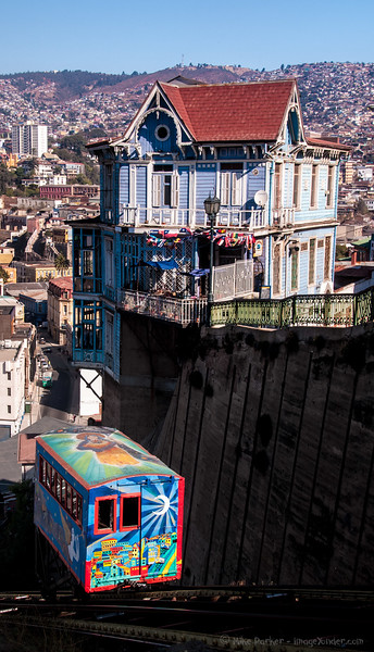 One of the 40 100year-old funiculars serving the hills of Valparaiso, Chile