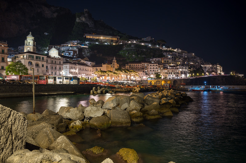 Amalfi Breakwater at Night
