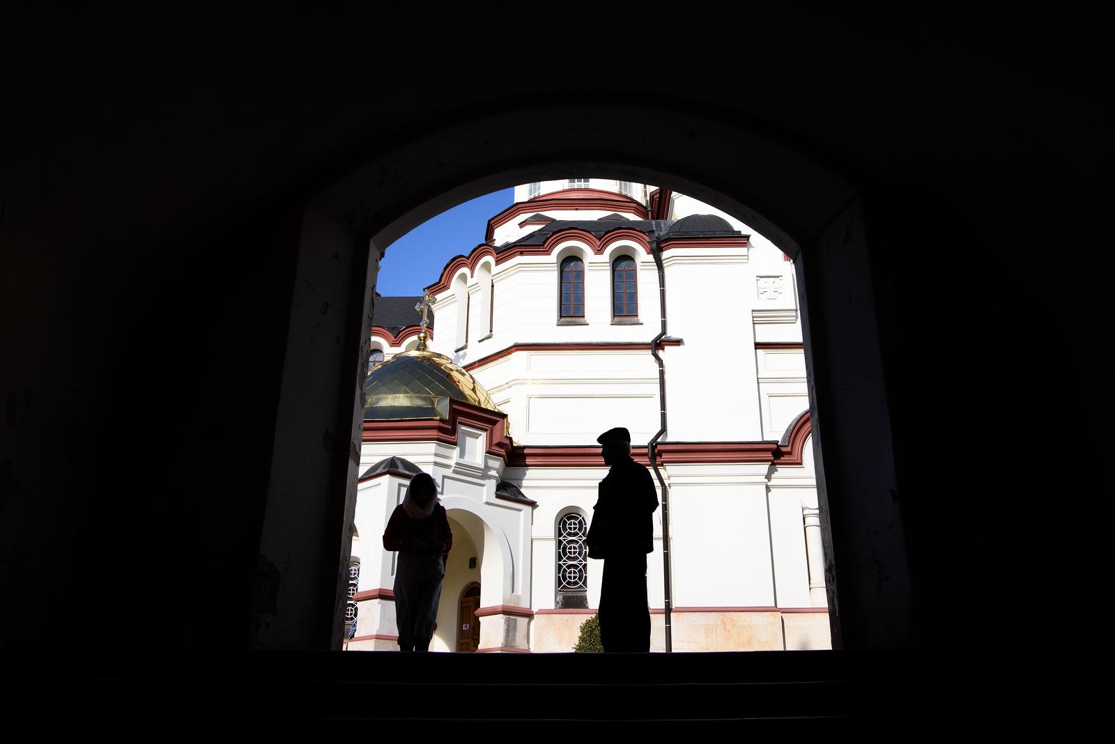 Shadows and sacred backdrop