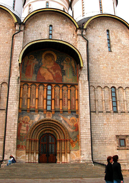 A closer look at the entrance to the Cathedral of the Assumption, inside Red Square.