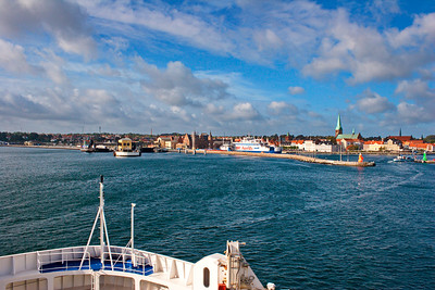 Ferry approaching the harbor in Helsingør