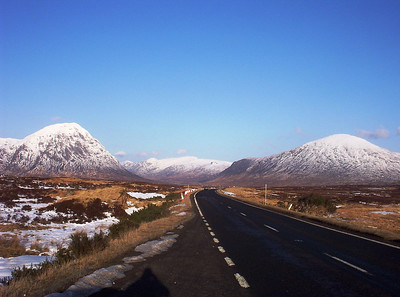 What a road,what a view. I love this place and the big mountain on the left. Its the Buchaille Etive Mor from Rannoch Moor.