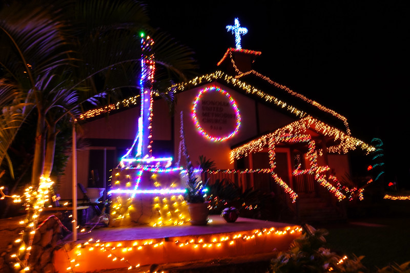 Church in Napili with lights.