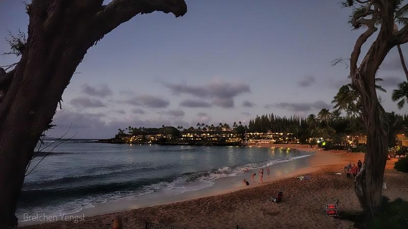 Lights come on across the bay