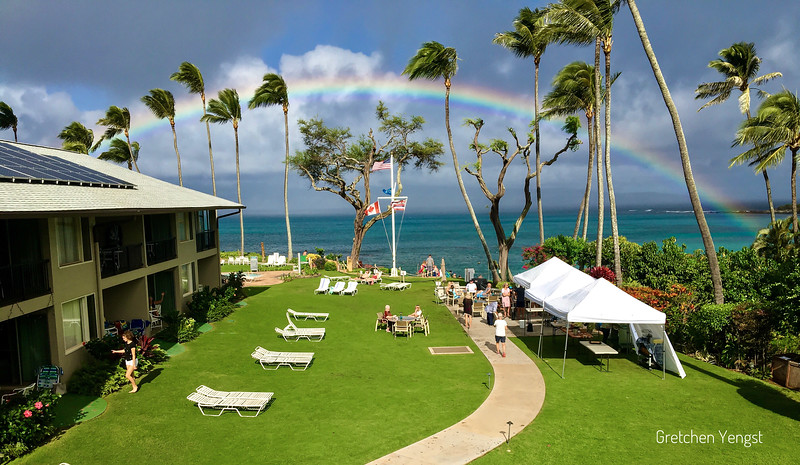 Arriving at our comfortable and beautiful accommodations at Napili Surf Resort where rainbows quickly come and go before your very eyes:)