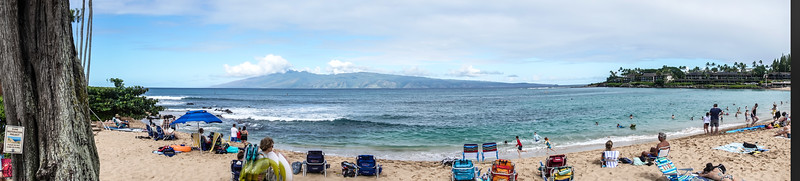 Here is a panoramic view of Napili Bay spreading out in front of us with the island of Molokai across the way