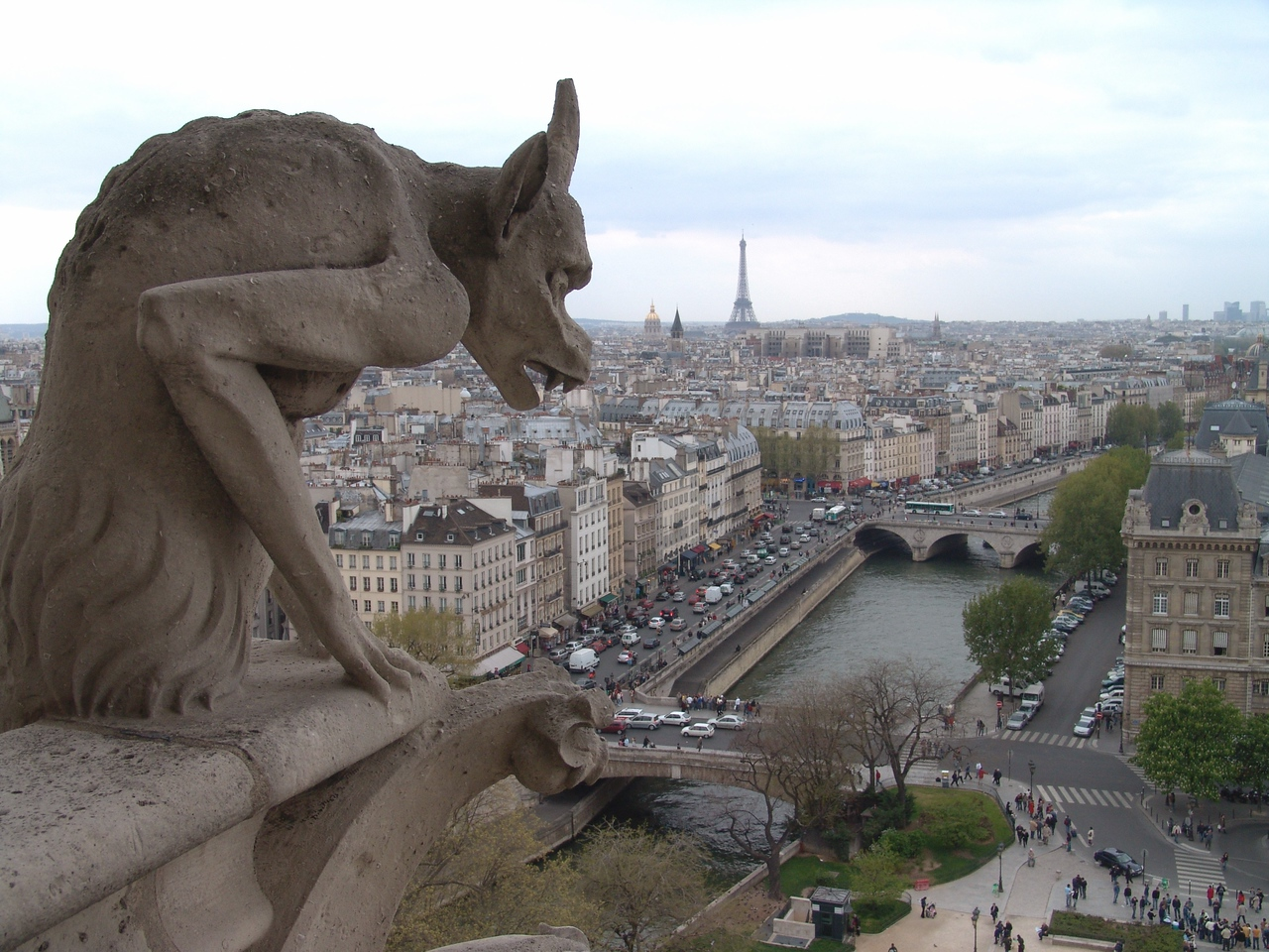 ND19: In the distance is the Eiffel Tower....and right below the gargoyle's chin is my hotel.
