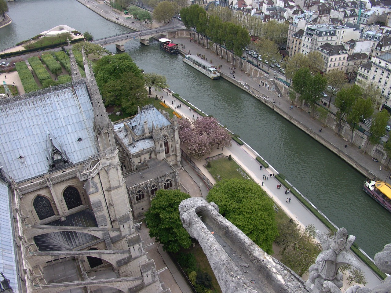 ND20: There is the Seine River running below us. In the foreground see the gargoyle drainage spout.