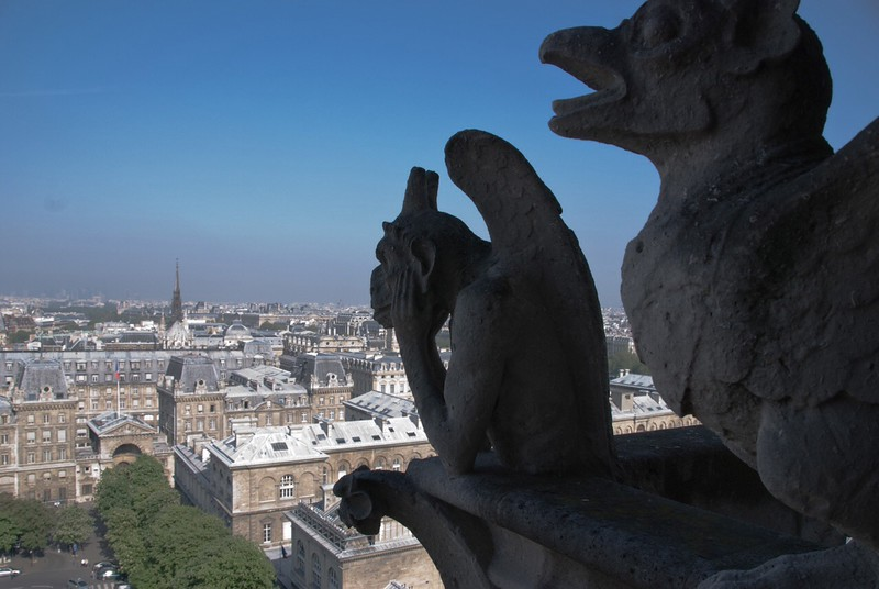 ND18: You can see 360 degrees in all directions across the city. The stone gargoyles were created as decoration and drainage spouts