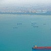 AERIAL VIEW OF THE BUSY SINGAPORE WATERWAY