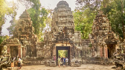 East entrance gate to Preah Khan temple in the Angkor Wat temple complex.
