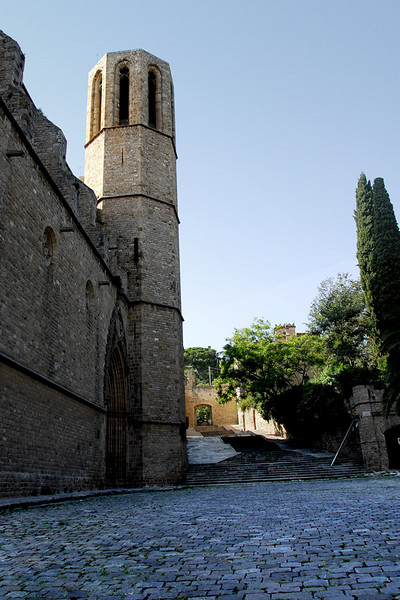 The church bell tower. The paving stones are still from the middle ages. Most of the monastery areas now are museums.
