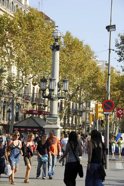 The busy center island of of La Rambla. This is at Rambla Canaletes part. This street is the most well known landmark in Barcelona. It starts at Placa Catalunya and goes all the way to Columbus Circle at the waterfront.