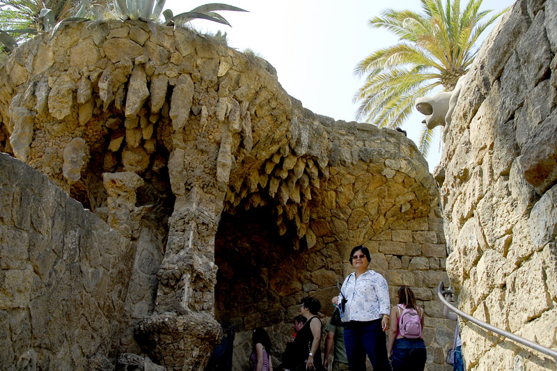 The entrance in one of the covered walks of Park Guell.