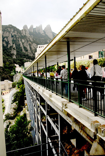 The approach to the monastery and church is actually a wide bridge that has a pedestrian and vehicular access.