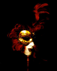 Mask shot against black background, Rome