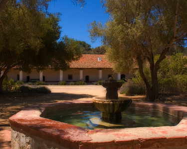 Fountain at La Purisima Mission, California Central Coast.