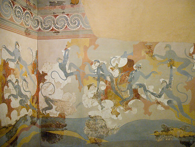 Mural from the ruins of the city of Akrotiri on the island of Santorini.
