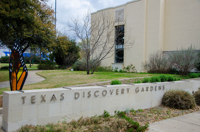 Entering the Texas Discovery Gardens building