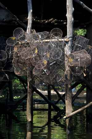 The traps used by village fishermen.