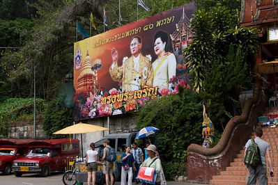 Sign showing King and Queen near Wat Phra That Doi Suthep