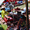 A view of the busy floating market.