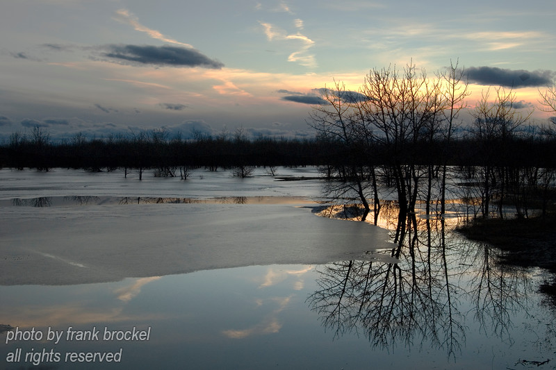 March - Evening over the small pond in early spring