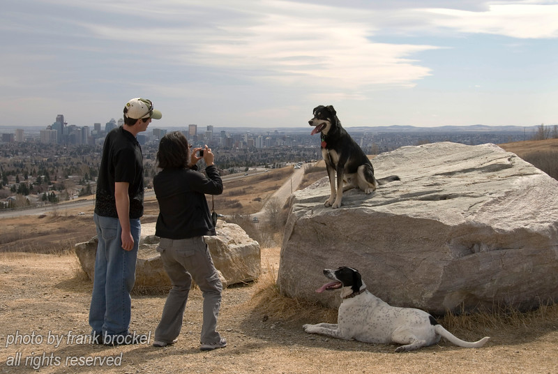 April - People posing their dog on the big rocks on top - downtown Calgary in the background