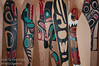 Paddles arraged against a wall at Haida Heritage Centre at Kaay Llnagaay