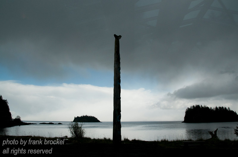 This photo was taken from the Haida Heritage Centre at Kaay Llnagaay (Skidegate) - a totem pole in the foreground.