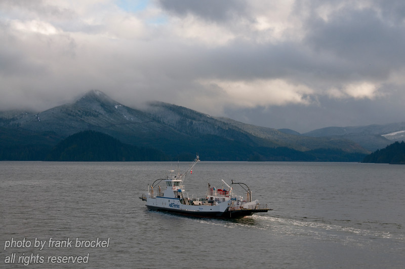 The Kwuna ferry on it's run across Skidegate Channel.  This small ferry shuttles between Moresby Island (south) and Graham Island (north)
