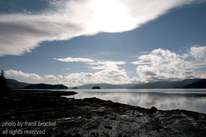 Skidegate Channel, which divides Graham Island (north) from Moresby Island (south) as seen from the shore west of Queen Charlotte City harbour.