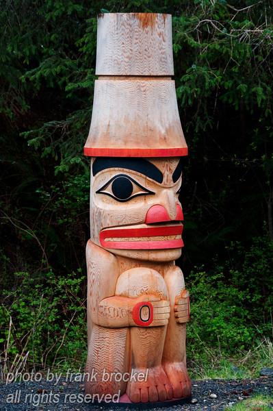 A small totem pole at Haida Heritage Centre at Kaay Llnagaay