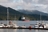 Prince Rupert harbour with freighter in the background waiting to get loaded.