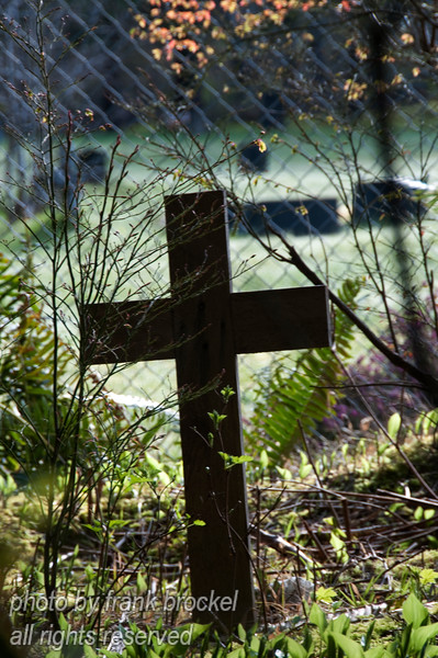 For some reason this cross was located just outside the graveyard fence.