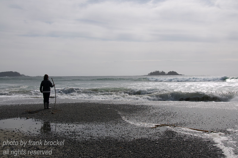 A lone person looking out across the Pacific at Florencia Bay