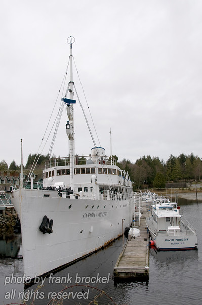 The Canadian Princess at permanent anchor in Ucluelet Harbour now serves as a museum and restaurant