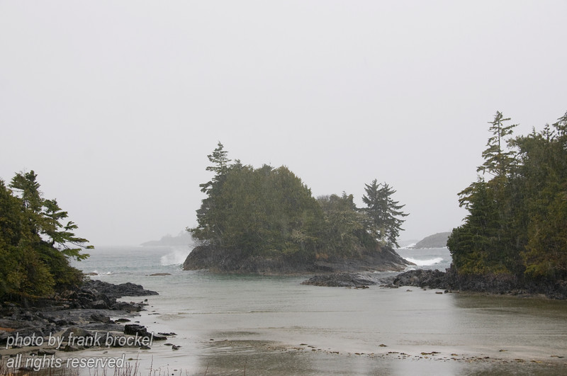 Rain and wet snow are soaking Crystal Cove on the west coast of Vancouver Island