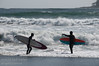 Surfers ready to dare the Pacific at Florencia Bay