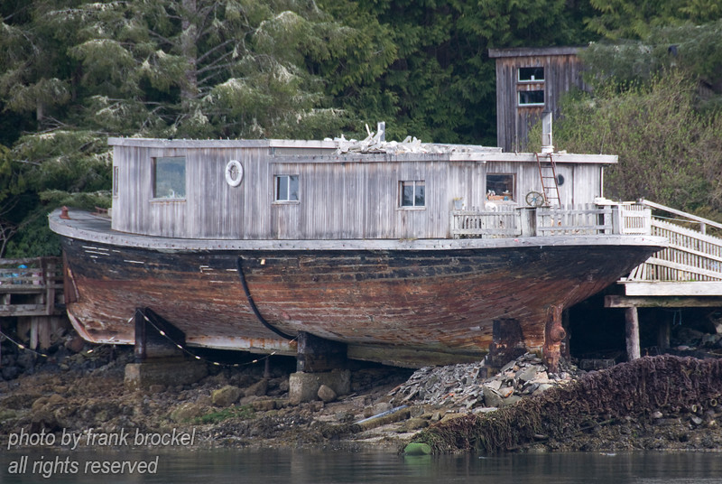 Someone's in this old boat home across the harbour in Tofino, , Vancouver Island