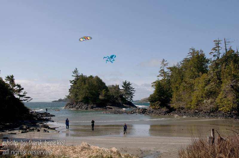 Flying kites furing low tide Crystal Cove on the west coast of Vancouver Island