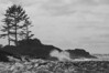 A storm is pounding the coast at Wickaninnish south beach on the west coast of Vancouver Island - a B&W rendition