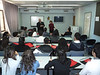 """Addressing """"my"""" Bethlehem University students in their classroom...the same one we videoconferenced from since January."""