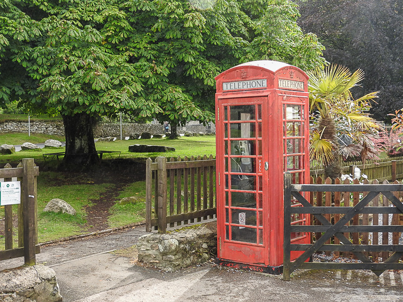 A British Phone booth at Widecombe in the Moor
