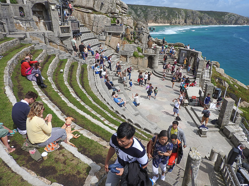 Minack Theatre. An amphitheater cut out of rock cliff above the Sea.