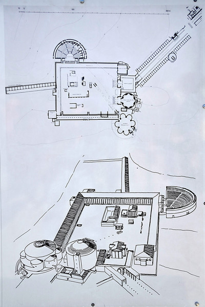A diagrammatic plan of the Sanctuary of Aklepius and a perspective drawing of what it looks like originally.